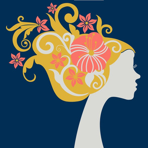 Silhouette with Floral Hair (Pantone Living Coral Limited Pallet 2019)