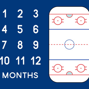 "(42"" width) Ice Hockey Rink - Baby Watch Me Grow Panel -  blue LAD19"