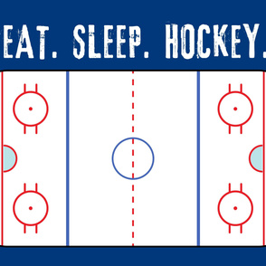 "(minky 54"") Eat. Sleep. Hockey. - Ice Hockey Rink - blue  LAD19"