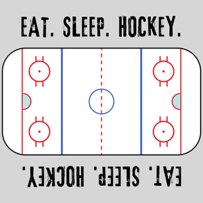 "(42"" width) Eat. Sleep. Hockey. - Ice Hockey Rink -  Grey LAD19"