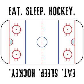 "(42"" width) Eat. Sleep. Hockey. - Ice Hockey Rink - White LAD19"
