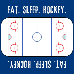 "(42"" width) Eat. Sleep. Hockey. - Ice Hockey Rink - Blue LAD19"
