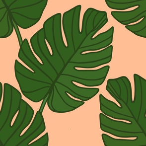 Monstera Leaves on peach (large)