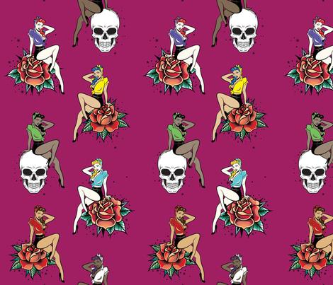 Rockabilly Chicks fabric by saflo_creations on Spoonflower - custom fabric