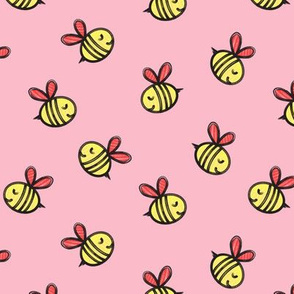cute bees - spring fabric - red on pink LAD19