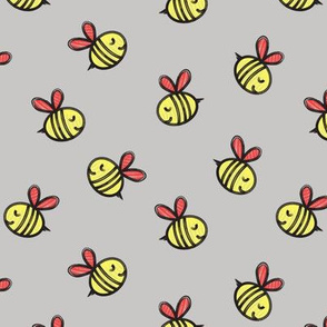 cute bees - spring fabric - grey LAD19
