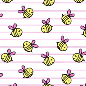 cute bees - spring fabric - pink stripes LAD19