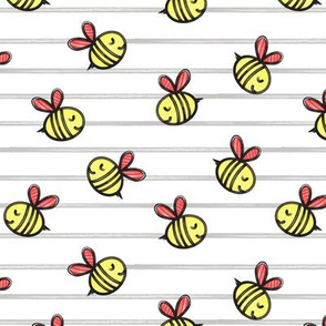cute bees - spring fabric - grey stripes LAD19
