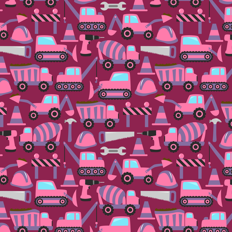 On the Construction Site (Dark Magenta Small) fabric by robyriker on Spoonflower - custom fabric