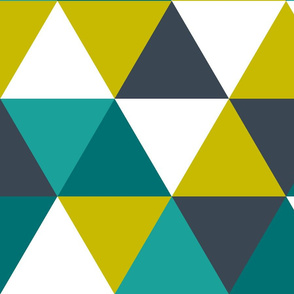 teal + citron triangle wholecloth