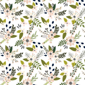 sprigs and blooms // blush, gray, navy