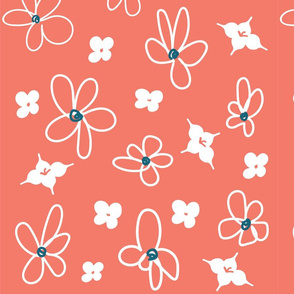 floral in teal and coral