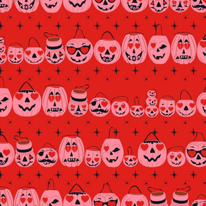 Valloween Pails- Pink Pails Red BG