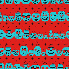 Valloween Teal Pumpkin Project Pails on Red