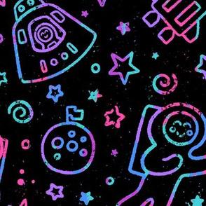 Moon Landing Crayon Etching (Large Scale)