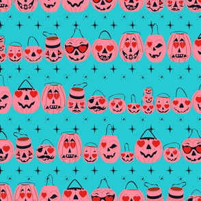 Valloween Pails- Pink on Turquoise