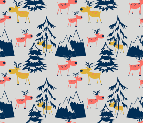 Twilight. Deer in the winter forest. fabric by art_in_you on Spoonflower - custom fabric