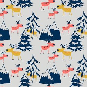 Twilight. Deer in the winter forest.