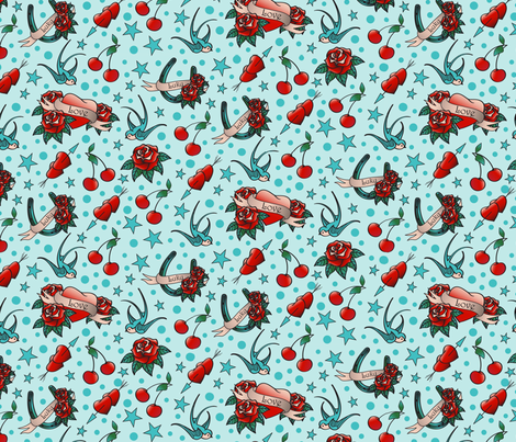 Rockabilly-Lucky in Love fabric by heather_hughes on Spoonflower - custom fabric