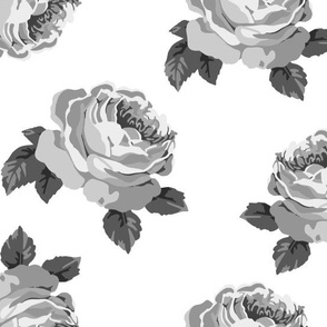 Pretty peonies in grey (large)