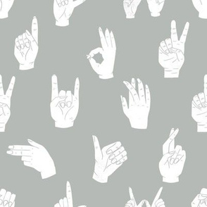 hands fabric - linocut hand signs, okay, thumbs up, palm, linocut print, hands fabric, resist - greige white