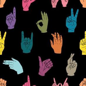 hands fabric - linocut hand signs, okay, thumbs up, palm, linocut print, hands fabric, resist - multi on black