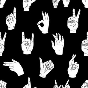 hands fabric - linocut hand signs, okay, thumbs up, palm, linocut print, hands fabric, resist - black
