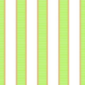 Bright Green & Gold Stripe on White