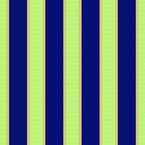 Bright Green & Gold Stripe on Royal Blue