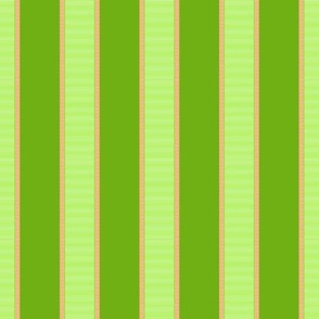 Bright Green & Gold Stripes on Dark Green