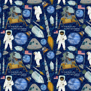 APOLLO 11 MOON LANDING paisley tiny print