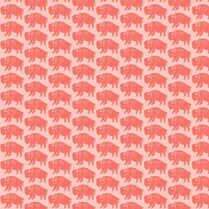 Bison Print - Living Coral