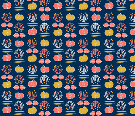 Coral Cooking in blue fabric by annahedeklint on Spoonflower - custom fabric