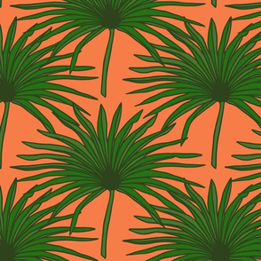 Palms in bright coral - small
