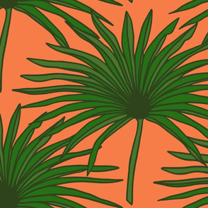 Palms in bright coral (large)