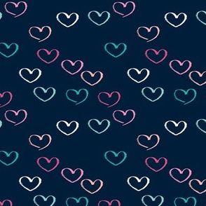 Sweet colorful little lovers valentine romance theme with hearts navy
