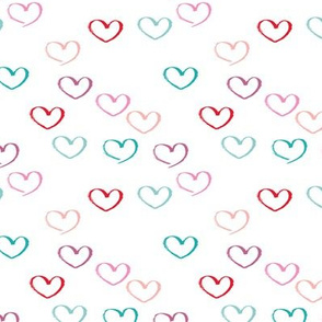 Sweet colorful little lovers valentine romance theme with hearts white