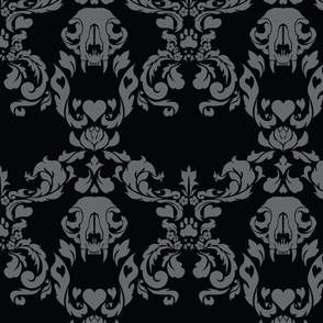 Cat Skull Damask -- Black/Grey