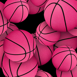 girly pink basketballs on black - Large