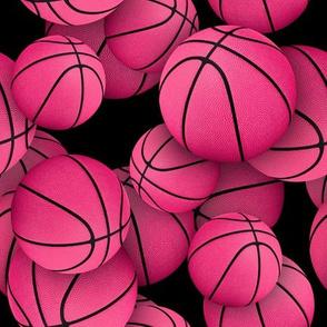 girly pink basketballs on black - Small