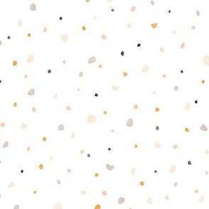 Mini terrazzo grey, orange and pink pebbles seamless pattern