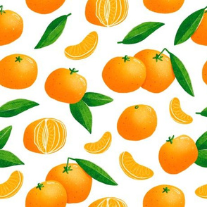 Tangerines illustration seamless pattern