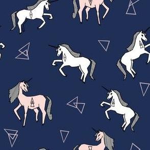 unicorn girls fabric - navy and blush unicorns, cute girls unicorn fabric - andrea lauren fabric