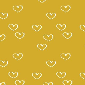 Sweet little love hearts valentine and romantic wedding heart print mustard yellow gender neutral