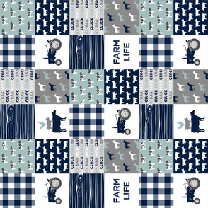 "(3"" small scale) farm life - tractor wholecloth patchwork - navy and dusty blue (90) C19BS"