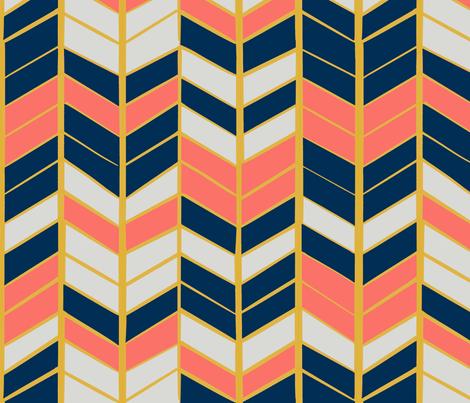 Coral & Navy Herringbone fabric by kitchenoperas on Spoonflower - custom fabric