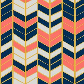 Coral & Navy Herringbone