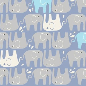 Splish Splash Elephants - Periwinkle Blue