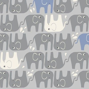 Splish Splash Elephants - Grey