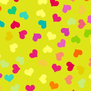 Small Colorful Valentines Hearts on Green